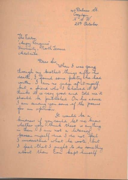 Ethel's first letter to Max Harris