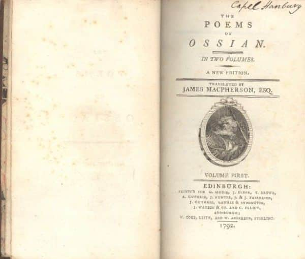 Title page from a 1792 edition of 'The Poems of Ossian' by James Macpherson