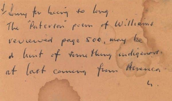 "Note by Nolan returning borrowed ""Sewanee Review"" to the Reeds"