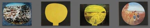 "Nolan works using a tondo, from left to right: (1) ""Landscape, Dimboola"", 1948; (2) ""Moonboy"" or ""Boy and the Moon"", 1939-40, National Gallery of Australia; (3) ""Homage aux Prix Nobel"", 1974; (4) ""Mrs Skillion putting her fingers to her nose"", c 1946-47."