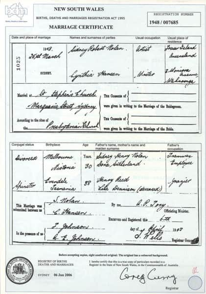 Marriage Certificate - Sidney Nolan and Cynthia Reed (Hansen)