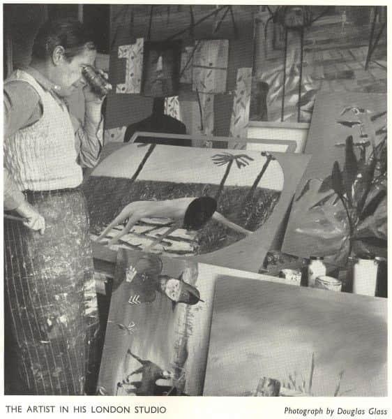 Douglas Glass, photo from 1957 Whitechapel Art Gallery Catalogue showing Nolan in his studio
