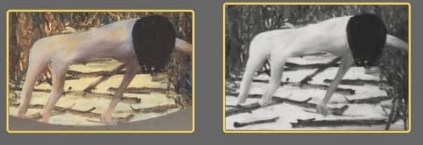 "19. Comparison of the Mrs Fraser figure in (left) ""Mrs Fraser"" and (right) ""Urang Creek"""