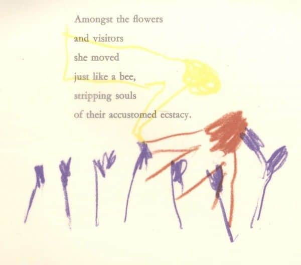 "Sidney Nolan, ""Dead-heading"", poem and crayon overlay, from ""Paradise Garden"", 1971"