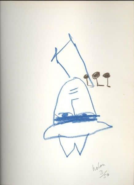 "Sidney Nolan, ""Ern Malley"", crayon drawing on frontispiece of ""The Darkening Ecliptic"", McAlpine, London, 1974."