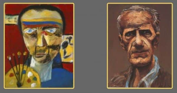 Sidney Nolan: (1) self portrait, 1943, Art Gallery of New South Wales; (2) by Albert Tucker, 1977, private collection