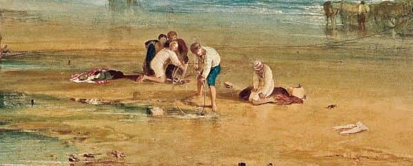 "Detail, ""Scarborough, town and castle; morning: boys catching crabs"", JMW Turner, about 1810"