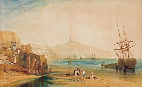 """Scarborough, town and castle; morning: boys catching crabs"", JMW Turner, about 1810"