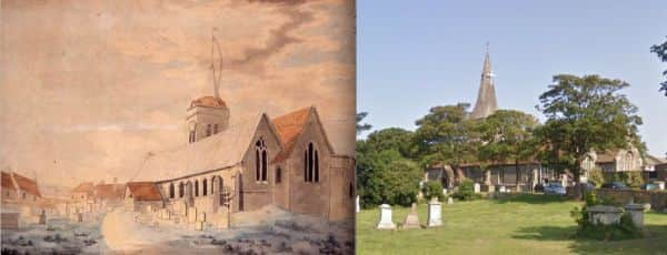 St John's Church Margate, JMW Turner, about 1786-7; and as it is today.