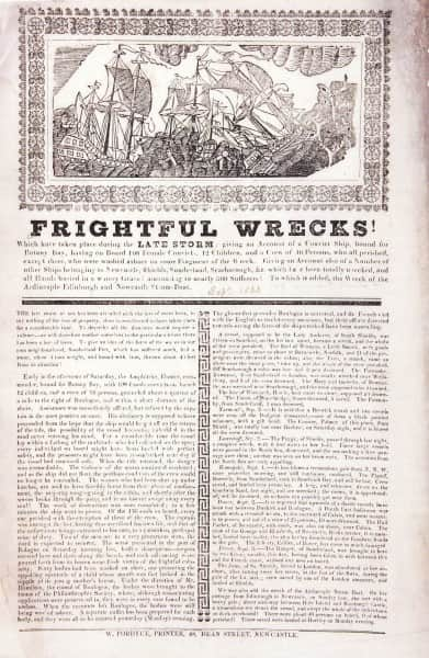 "Printed broadside reporting the wreck of the ""Amphitrite"""