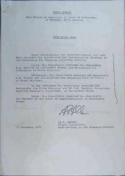 Dismissal of the Whitlam Government, 11 November 1975, Vice-Regal press release