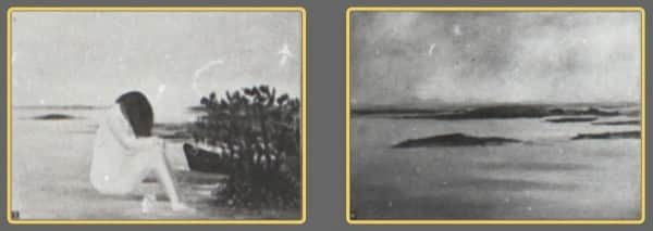"Sidney Nolan, Fraser Island paintings exhibited at The Moreton Galleries, Brisbane, 17-28 February 1948. (L) possibly No 3 ""Urang Creek""; (R) possibly No 10 ""Hervey Bay"""