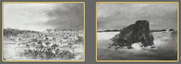 "Sidney Nolan, Fraser Island paintings exhibited at The Moreton Galleries, Brisbane, 17-28 February 1948. (L) identity uncertain; (R) possibly No 6 ""Maheno"""
