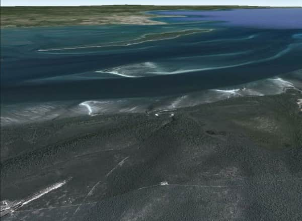 GoogleEarth image looking over Urang Creek and the Woodies west towards the mainland