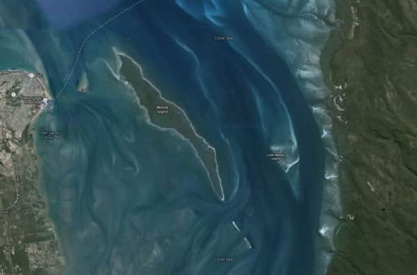 Google Satellite image showing Woody and Little Woody Islands in Hervey Bay opposite Urang Creek