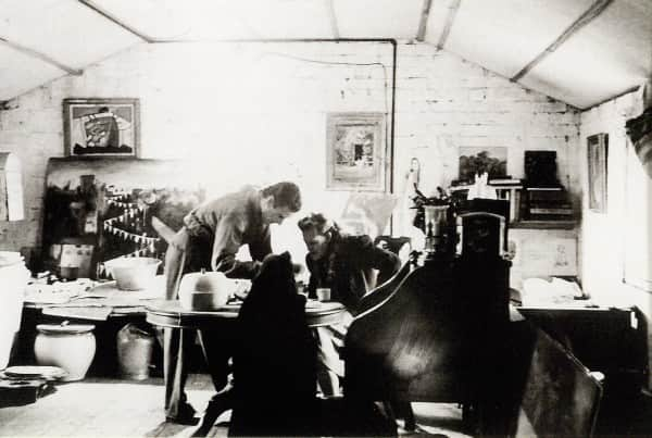 Sidney Nolan and Joy Hester in his loft studio, Gatehouse Street, Parkville, Melbourne, 1945, photo by Albert Tucker.