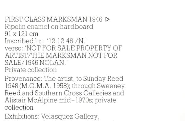 """First Class Marksman"", provenance listing, Landscape and Legends catalogue, 1987 p. 76."