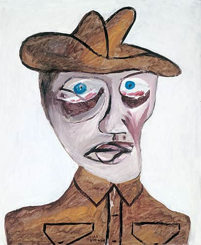 """Head of Soldier"", December 1942, Sidney Nolan, NGA collection."