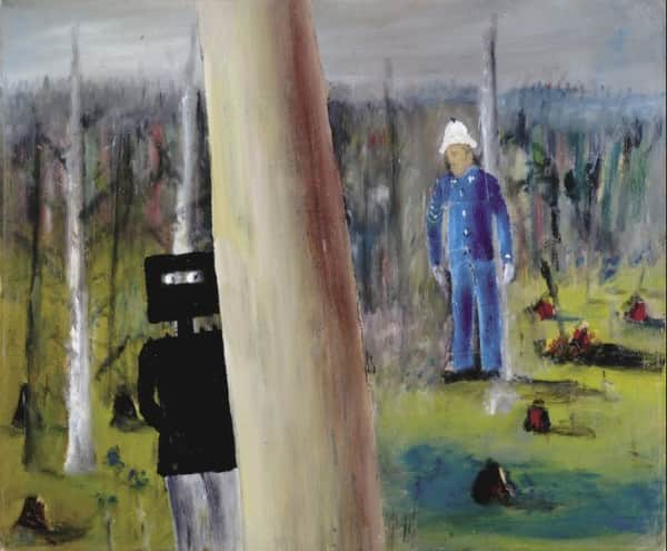 """Kelly and Sergeant Kennedy"", March 1945, Sidney Nolan, CMAG collection."