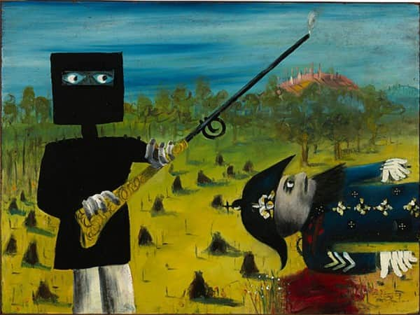 """Death of Sergeant Kennedy at Stringybark Creek"", March 1946, Sidney Nolan, NGA collection."
