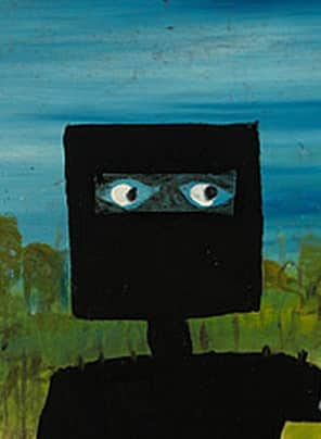 """Detail, """"Death of Sergeant Kennedy at Stringybark Creek"""", March 1946, Sidney Nolan, NGA collection."""