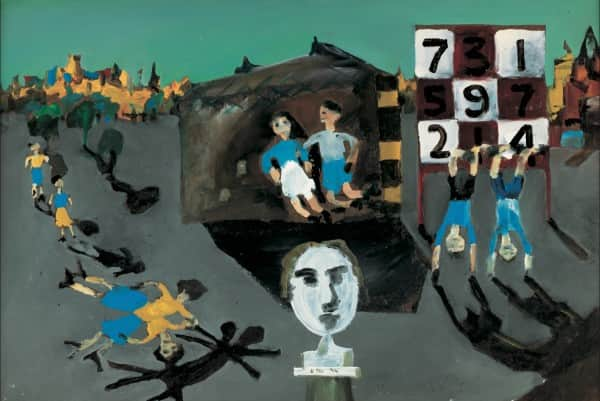 """Brighton State School"" or ""Perspective Love Song"", 1944, Sidney Nolan, AGSA collection."