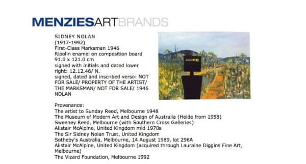 """First Class Marksman"", provenance listing, Menzies Press Release, March 2010"