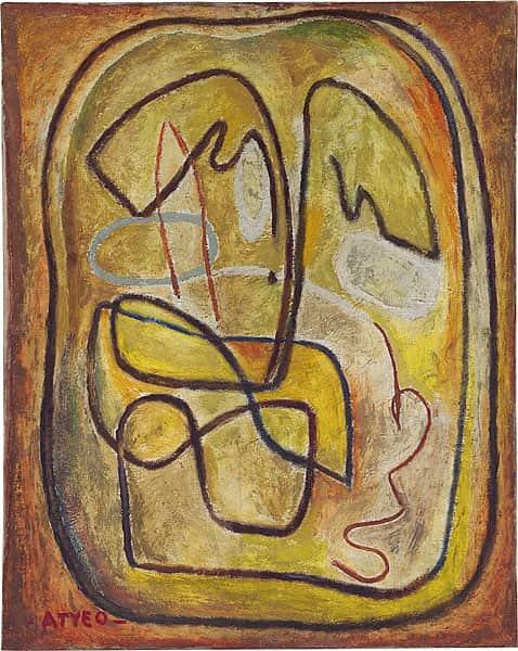 """""""Organised line to yellow"""", c 1933, Sam Atyeo, NGA collection."""