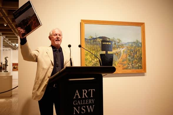 Lou Klepac, Chairman of The Gleeson O'Keefe Foundation, addresses the audience as Australian painter Sidney Nolan's 'First Class Marksman' is unveilled as the newest acquisition by the Art Gallery of New South Wales on March 31, 2010