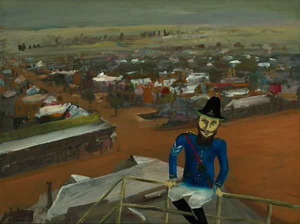 """The watch tower"", July 1947, Sidney Nolan, NGA collection."