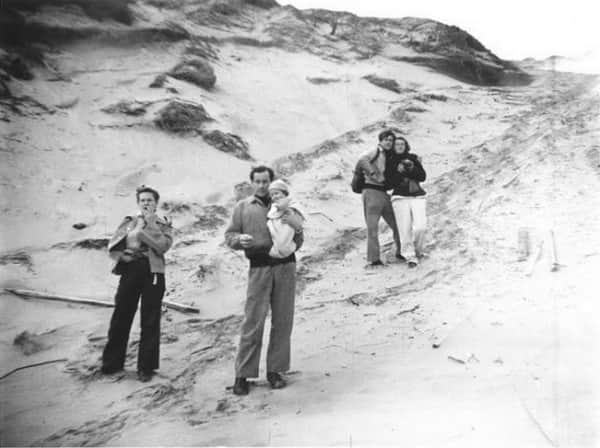 Albert Tucker, photo of Joy Hester, Sidney Nolan holding Sweeney, John & Sunday Reed, Point Lonsdale, Victoria, 1945 or 1946