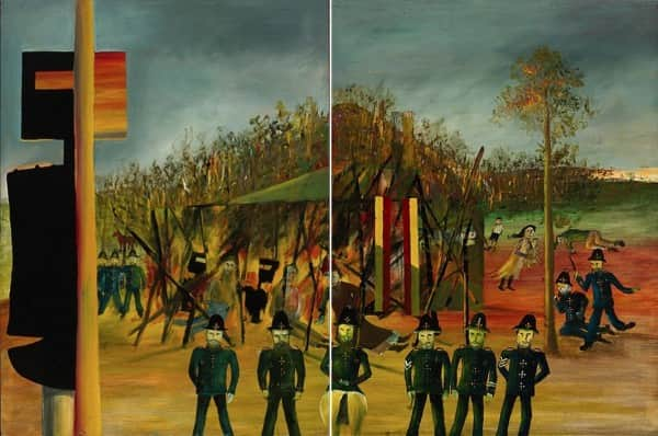 """Burning at Glenrowan""and ""Siege at Glenrowan"", October-November 1946, Sidney Nolan, NGA collection."