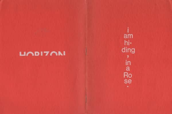 Rear and front cover of memorial booklet for Sweeney Reed 1945 - 1979. Two of his visual poems exhibited at Tolarno Galleries in 1978